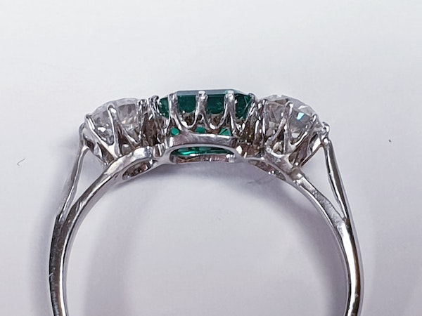 Emerald and diamond engagement ring  DBGEMS - image 4