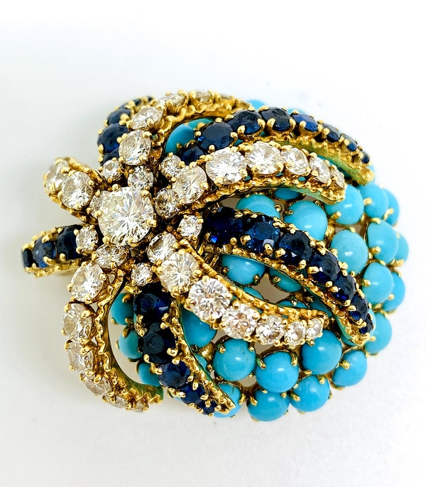 18K yellow gold Diamond, Blue Sapphire and Turquoise Brooch - image 1
