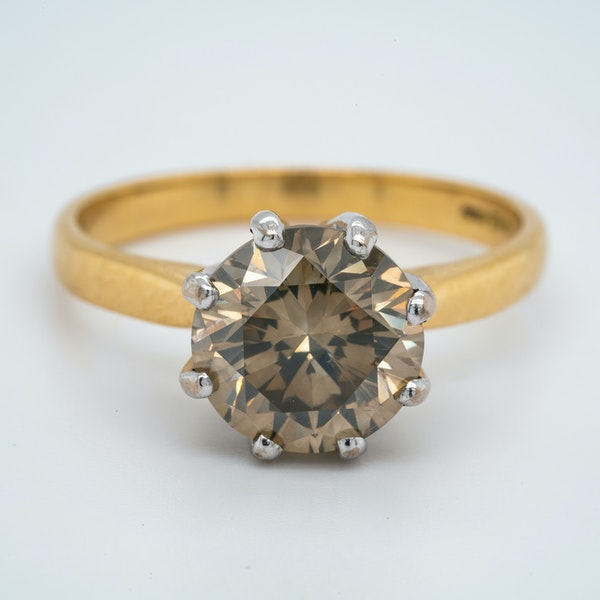 18K yellow gold 3.60ct Fancy Dark Brown Diamond Engagement Ring - image 1