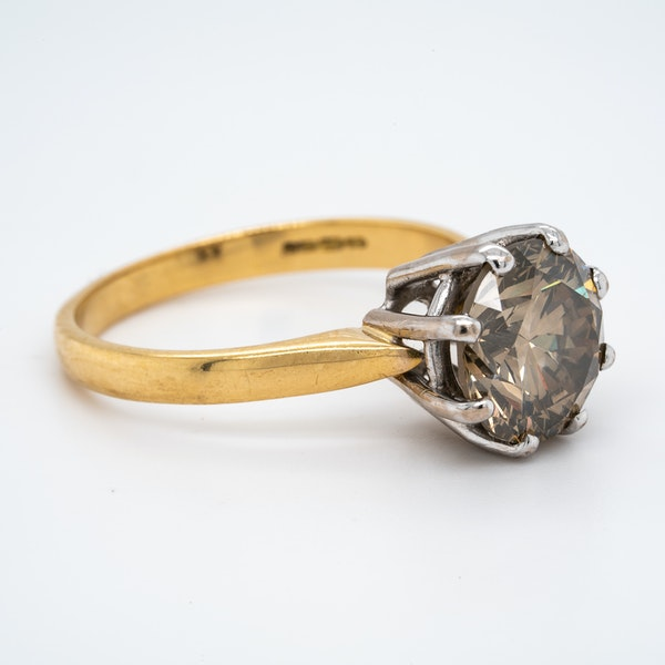 18K yellow gold 3.60ct Fancy Dark Brown Diamond Engagement Ring - image 2