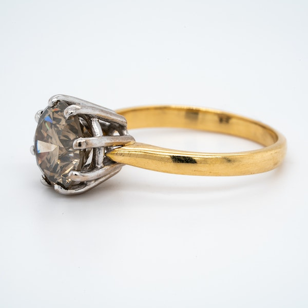 18K yellow gold 3.60ct Fancy Dark Brown Diamond Engagement Ring - image 3