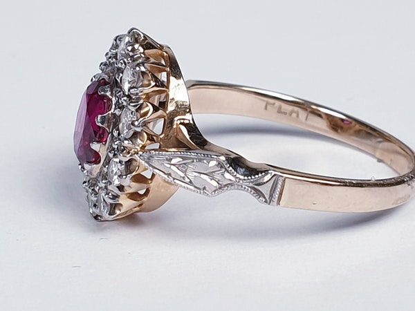 Edwardian Siam Ruby and Diamond Cluster Ring  DBGEMS - image 3