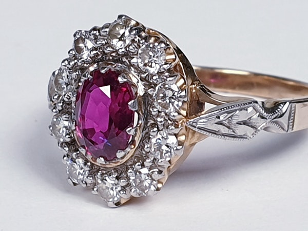 Edwardian Siam Ruby and Diamond Cluster Ring  DBGEMS - image 1