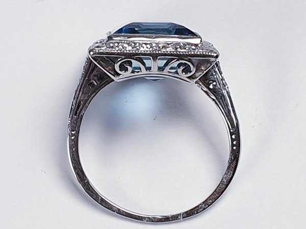 Santa Maria Aquamarine and Diamond Art Deco Ring  DBGEMS - image 5