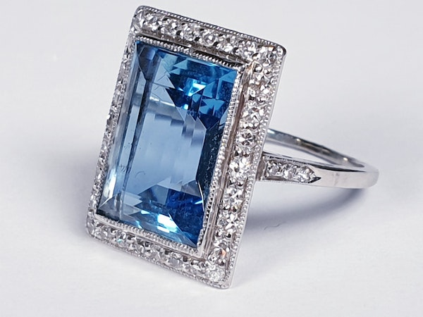 Santa Maria Aquamarine and Diamond Art Deco Ring  DBGEMS - image 2
