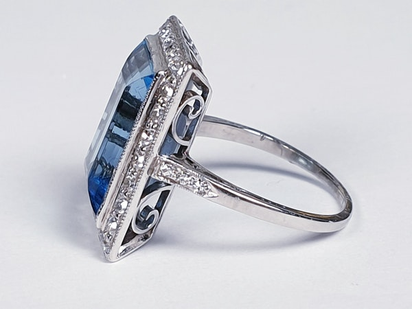 Santa Maria Aquamarine and Diamond Art Deco Ring  DBGEMS - image 1