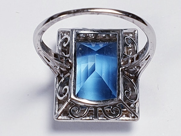 Santa Maria Aquamarine and Diamond Art Deco Ring  DBGEMS - image 4