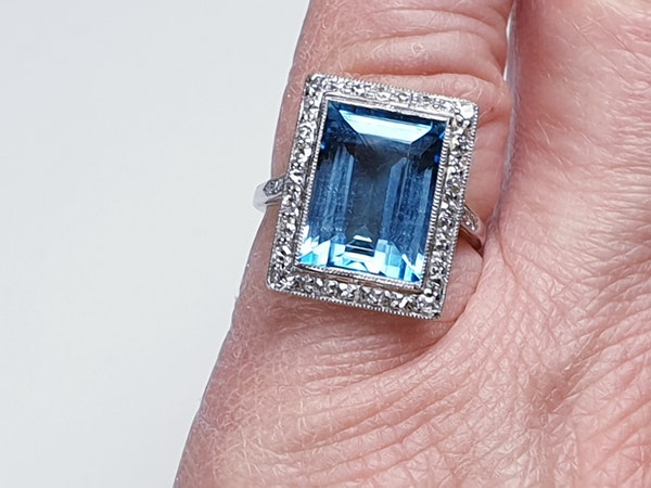 Santa Maria Aquamarine and Diamond Art Deco Ring  DBGEMS - image 3