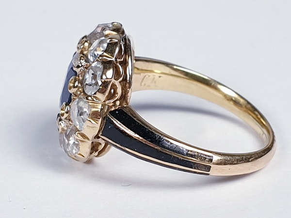 Antique Sapphire and Diamond Cluster Ring 3829  DBGEMS - image 3
