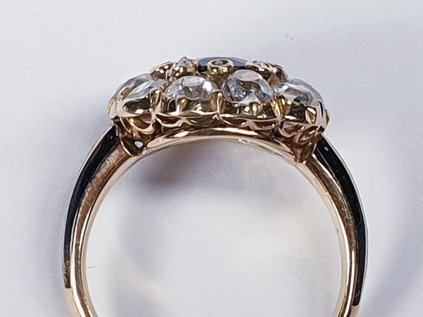 Antique Sapphire and Diamond Cluster Ring 3829  DBGEMS - image 1