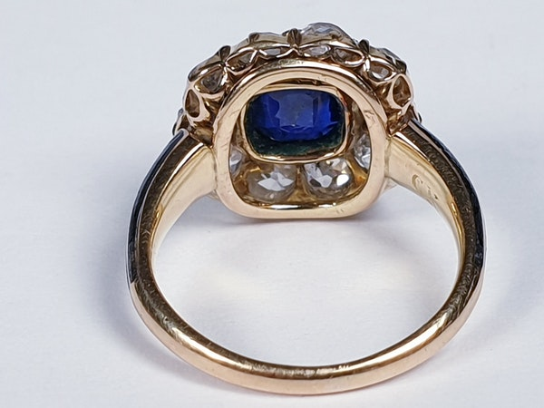 Antique Sapphire and Diamond Cluster Ring 3829  DBGEMS - image 4