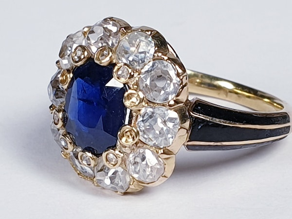 Antique Sapphire and Diamond Cluster Ring 3829  DBGEMS - image 2