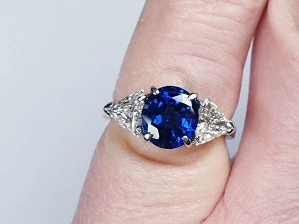 Sapphire and trillion cut diamond engagement ring  DBGEMS - image 1