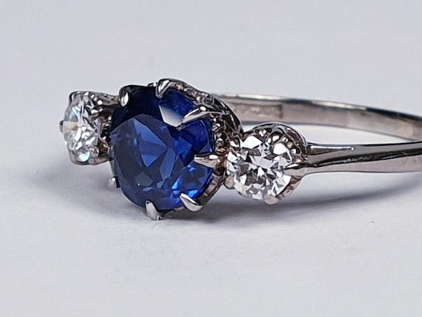 Art Deco Sapphire and Diamond Ring  DBGEMS - image 3