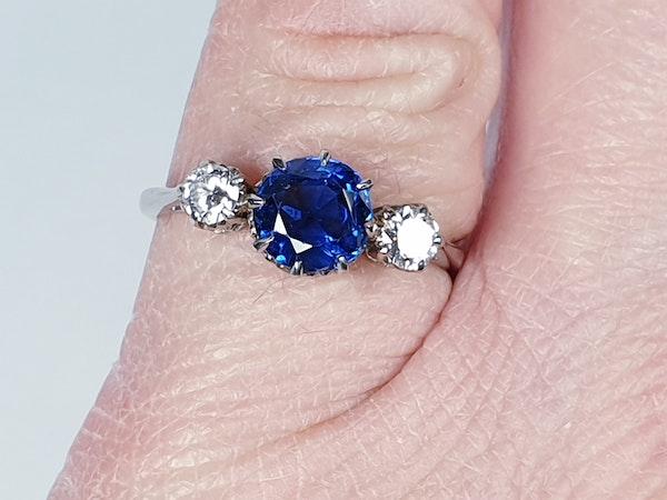 Art Deco Sapphire and Diamond Ring  DBGEMS - image 4