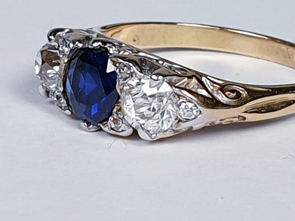 Victorian Sapphire and Diamond Carved Half Hoop Ring  DBGEMS - image 3