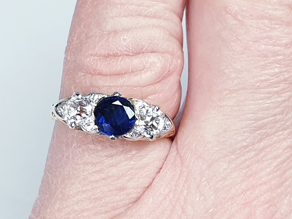 Victorian Sapphire and Diamond Carved Half Hoop Ring  DBGEMS - image 1