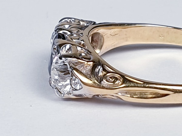 Victorian Sapphire and Diamond Carved Half Hoop Ring  DBGEMS - image 4