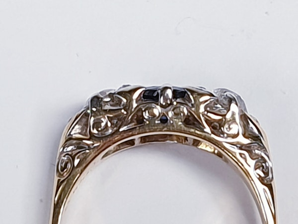 Victorian Sapphire and Diamond Carved Half Hoop Ring  DBGEMS - image 2