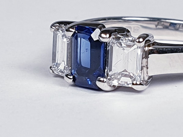 Sapphire and diamond emerald cut engagement ring  DBGEMS - image 3