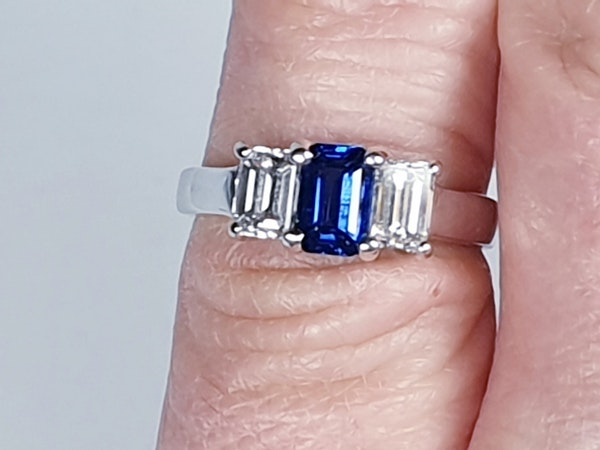 Sapphire and diamond emerald cut engagement ring  DBGEMS - image 2