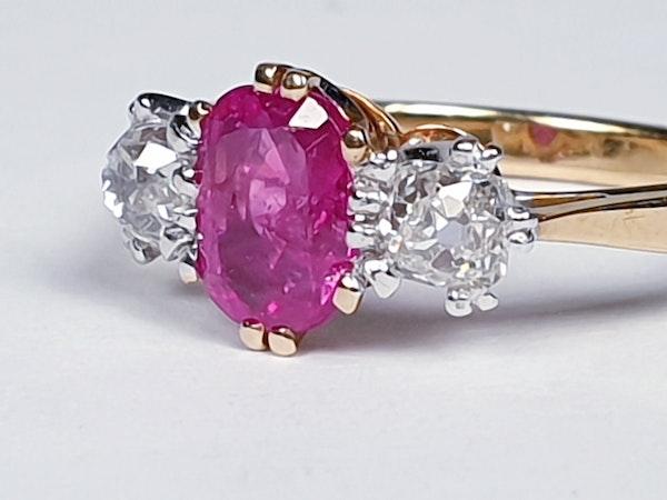 Burmese Ruby and Old Mine Cut Diamond Three Stone Ring  DBGEMS - image 4