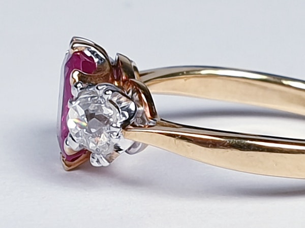 Burmese Ruby and Old Mine Cut Diamond Three Stone Ring  DBGEMS - image 3