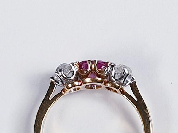 Burmese Ruby and Old Mine Cut Diamond Three Stone Ring  DBGEMS - image 2