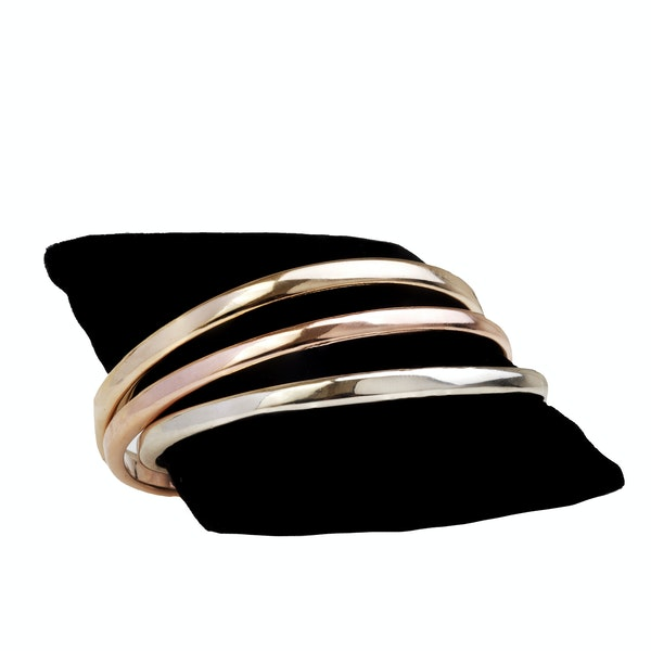 A Modern trio of Rose, Yellow, and White Gold Bangles - image 4