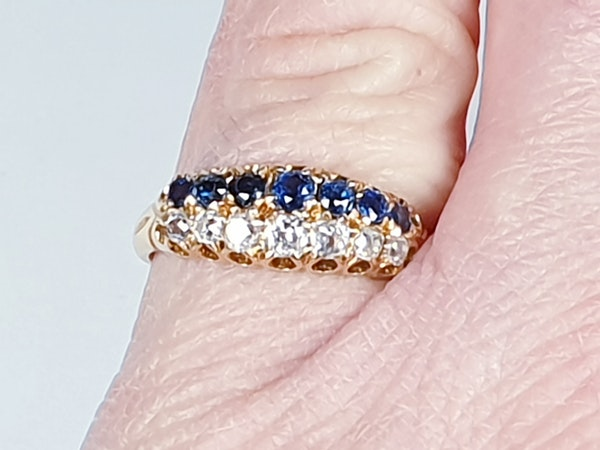 Two row Sapphire and diamond ring stack  DBGEMS - image 5