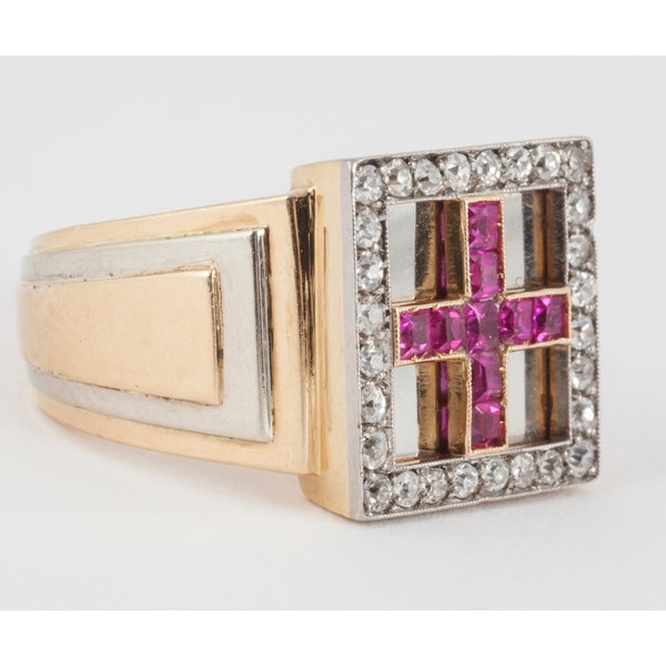 Vintage Burma Ruby and Diamond Square Cluster Ring in 18 Karat Gold, French circa 1950. - image 1