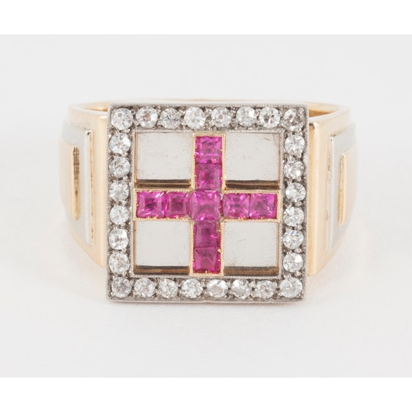 Vintage Burma Ruby and Diamond Square Cluster Ring in 18 Karat Gold, French circa 1950. - image 2