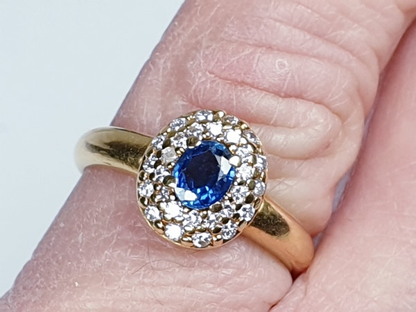 Victorian Sapphire and Diamond Cluster Ring  DBGEMS - image 4