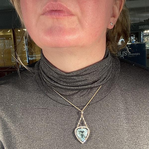 Date: circa 1900, Platinum & 15ct Yellow Gold, Aquamarine, Diamond and Seed Pearl stone set Pendant, SHAPIRO & Co since1979 - image 2