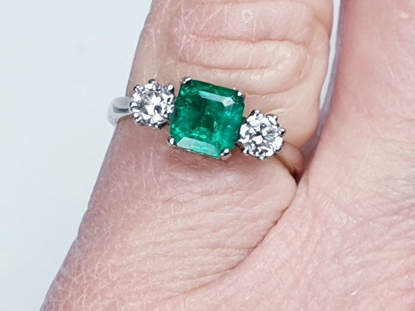 Fantastic Enerald and Diamond Three Stone Diamond Ring  DBGEMS - image 3
