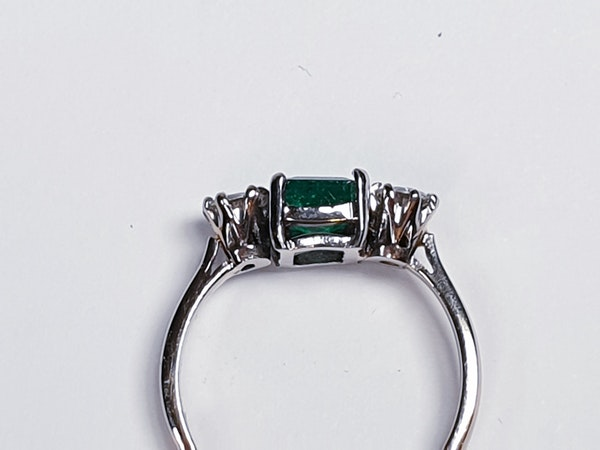 Fantastic Enerald and Diamond Three Stone Diamond Ring  DBGEMS - image 4