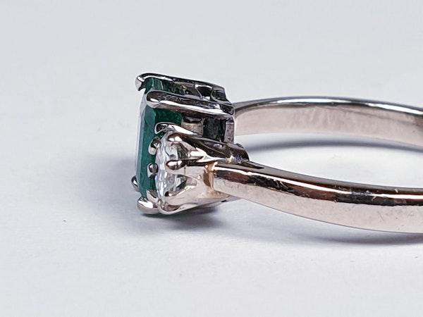 Fantastic Enerald and Diamond Three Stone Diamond Ring  DBGEMS - image 1