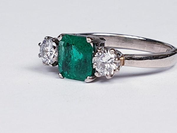 Fantastic Enerald and Diamond Three Stone Diamond Ring  DBGEMS - image 2