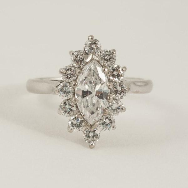 Vintage Single Marquise Cut Diamond Cluster Ring in 18 Carat Gold, English circa 1980. - image 1