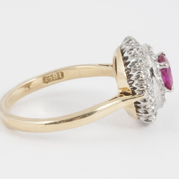 Vintage Burma Ruby & 2 Row Diamond Cluster Ring in 18 Carat Gold, English circa 1950. - image 3