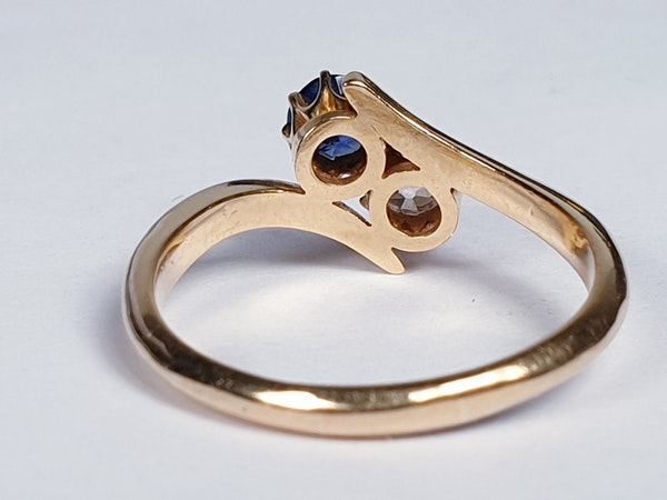 Victorian Sapphire and Diamond Cross Over Ring  DBGEMS - image 1