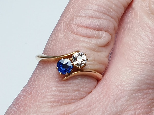 Victorian Sapphire and Diamond Cross Over Ring  DBGEMS - image 3