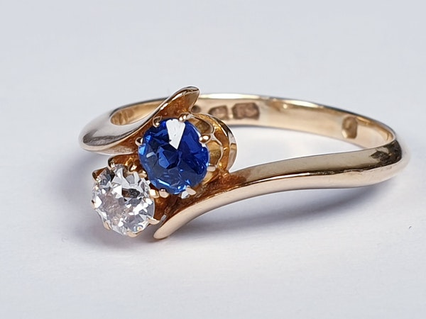 Victorian Sapphire and Diamond Cross Over Ring  DBGEMS - image 5