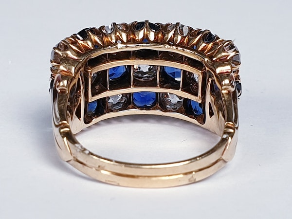 Fabulous antique sapphire and diamond three row ring  DBGEMS - image 5