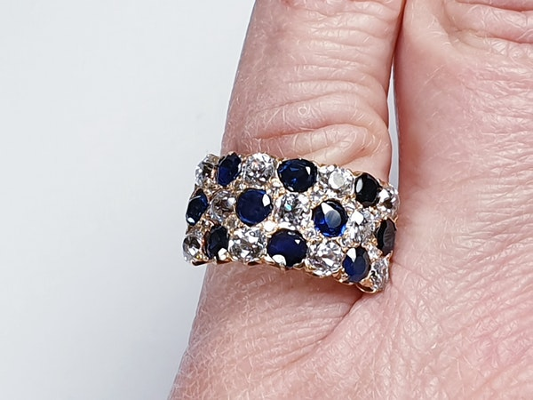 Fabulous antique sapphire and diamond three row ring  DBGEMS - image 3