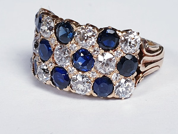 Fabulous antique sapphire and diamond three row ring  DBGEMS - image 1