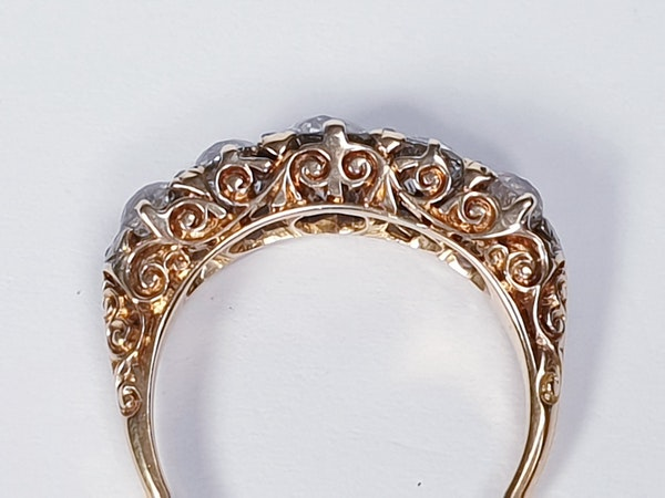 Carved Half Hoop Five Stone Diamond Ring  DBGEMS - image 3
