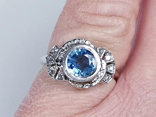 Art Deco Ceylon Sapphire and Diamond Engagement Ring  DBGEMS - image 1