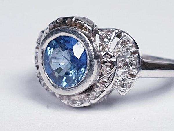 Art Deco Ceylon Sapphire and Diamond Engagement Ring  DBGEMS - image 4