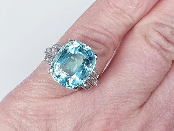 Art Deco Aquamarine and diamond dress ring  DBGEMS - image 1